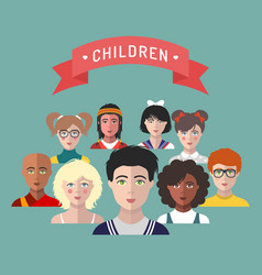 Children avatarsset of different vector