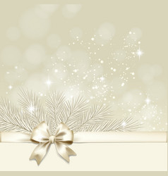 Christmas background with golden bow vector