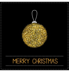 Christmas ball Glitter gold Merry Christmas card vector