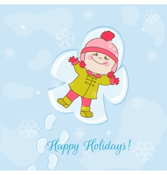 Christmas Snow Angel Baby Card vector