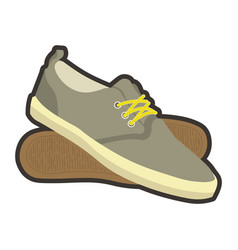 Classical mens brown sneakers with yellow laces vector