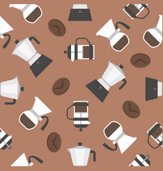 coffee brewing french press drip and moka pot vector image