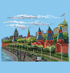 colorful hand drawing moscow-2 vector image