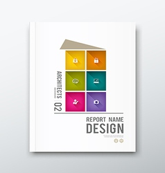 Cover annual report colorful building graphic vector