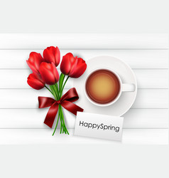 Cup of coffee with red tulips and red ribbon vector