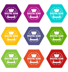 digital scan icons set 9 vector image