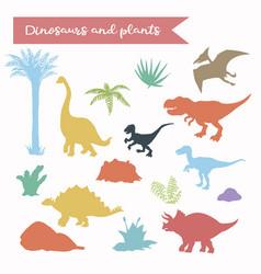 dinosaur silhouette set vector image