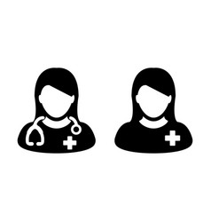 Doctor icon female patient medical consultation vector