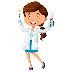 Female dentist with equipment vector image