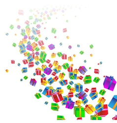 Festive background with colorful gift boxes vector image