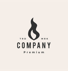 fire flame lit hipster vintage logo icon vector image