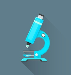 flat blue microscope icon vector image