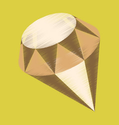 Flat shading style icon diamond expensive jewelery vector