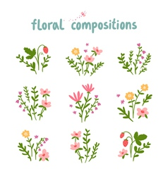 Floral compositions collection vector image