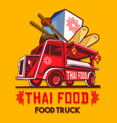 Food truck thai fast delivery service logo vector