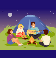 friends near a fire vector image