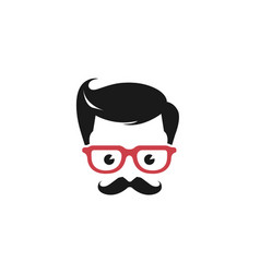 Gentleman geek head logo vector