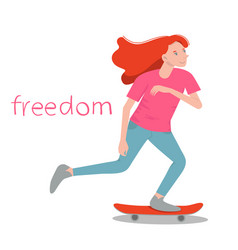 Girl skater beauty with red hair surf vector
