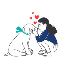 Girl with puppy pretty dog and little vector