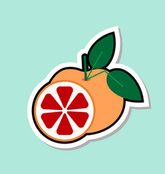 Grapefruit sticker on blue background colorful vector