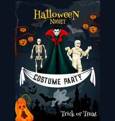 Halloween holiday costume party invitation banner vector
