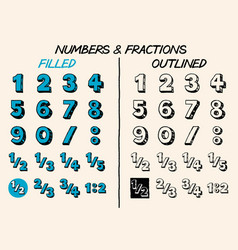 Handdrawn numbers and fractions vector