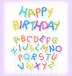 Happy birthday spelled out in twisted balloons vector