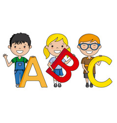 happy children with the alphabet vector image