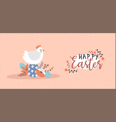 happy easter card funny chicken bird egg vector image