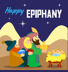 happy epiphany three king concept background vector image