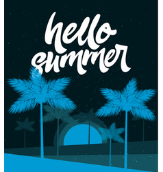 Hello summer poster tropic background banner vector