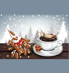 hot coffee splash in a white cup on winter vector image