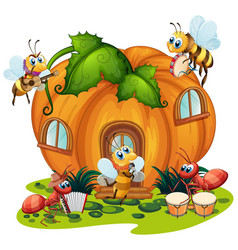 Insect playing music in front pumpkin house vector