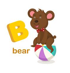 Isolated alphabet letter b bear vector