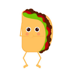 Isolated taco emote with hands on mouth vector