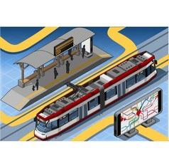 Isometric subway near platform roand vector