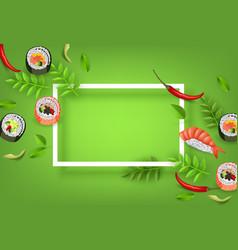 japanese sushi banner with rolls ebi nigiri vector image