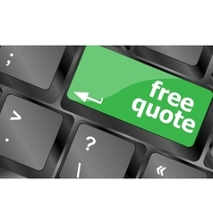 Keyboard with free quote button business concept vector