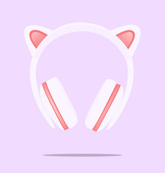 kitty ear headphones flat design i on vector image