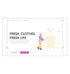 Laundrette company hotel cleaning service landing vector