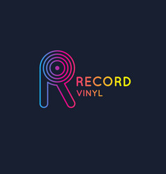 logo of the vinyl record letter r vector image
