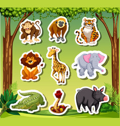 many animals sticket in jungle background vector image