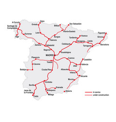 Map high speed railway lines in spain vector