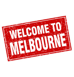 Melbourne red square grunge welcome to stamp vector