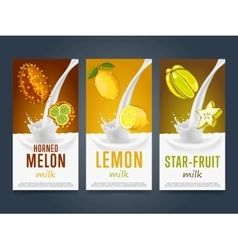 Milkshake concept with milk splash and fruit vector image