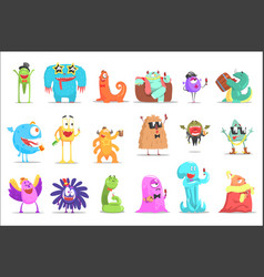 Monsters having fun at the party funky creatures vector