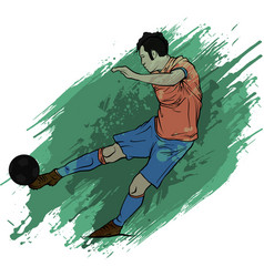one caucasian soccer player man playing kicking vector image
