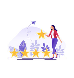 Online review woman are giving a five star rating vector