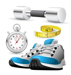 Pair of running shoes stopwatch and measuring tape vector