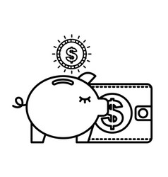 piggy bank dollar coins wallet business vector image